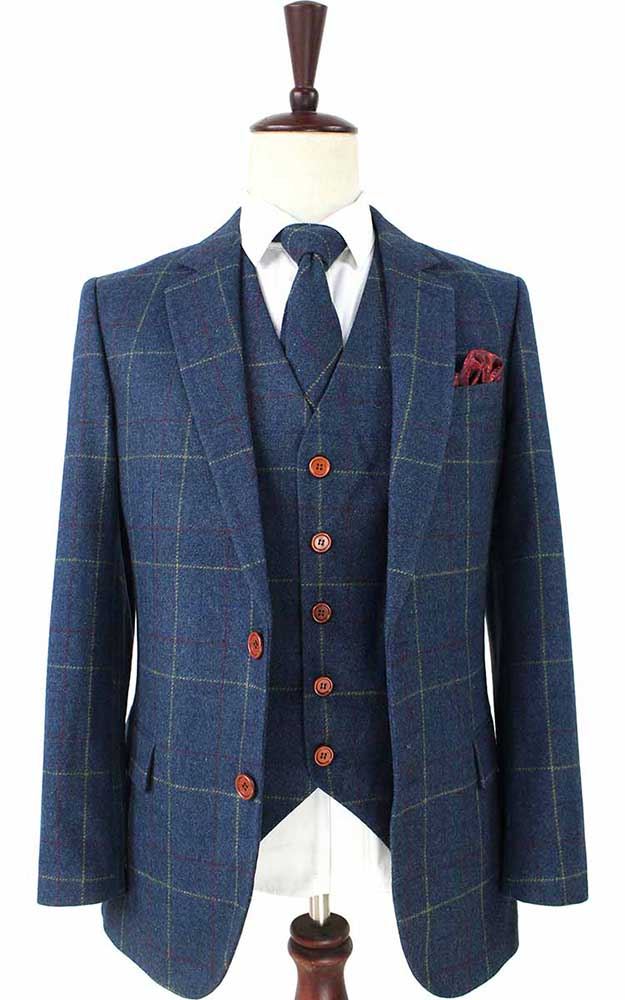 BLUE OVERCHECK PLAID TWEED 2 PIECE SUIT - BDtailormade