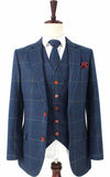 BLUE OVERCHECK PLAID TWEED 2 PIECE SUIT