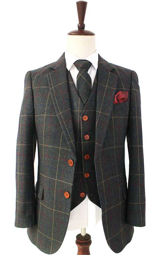 green overcheck plaid tweed 2 piece suit