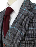 grey blue houndstooth plaid tweed suits 2 piece