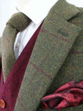olive green plaid tweed 2 piece suit