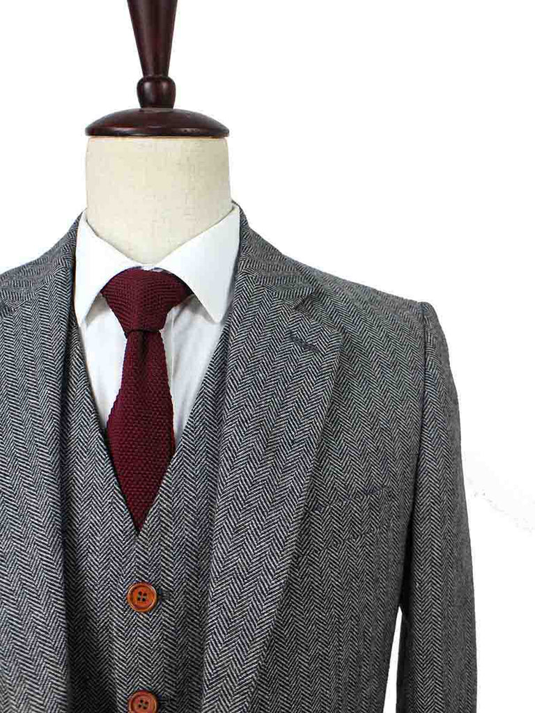 CLASSIC GREY HERRINGBONE TWEED 2 PIECE SUIT - BDtailormade