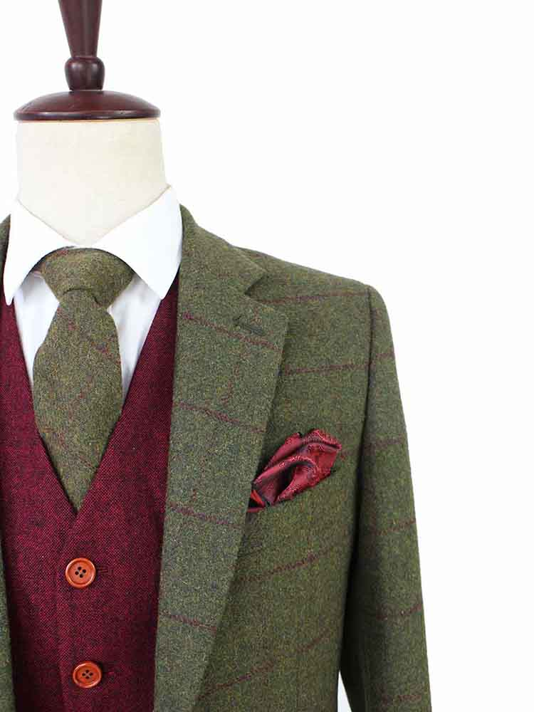 OLIVE GREEN PLAID TWEED 2 PIECE SUIT - BDtailormade