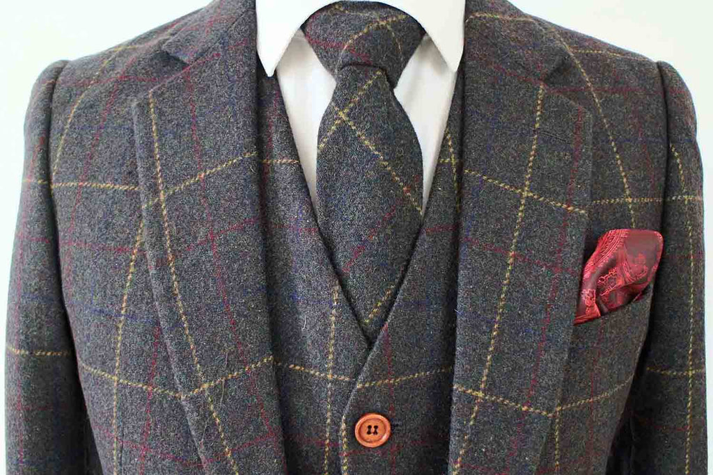 green overcheck plaid tweed suits