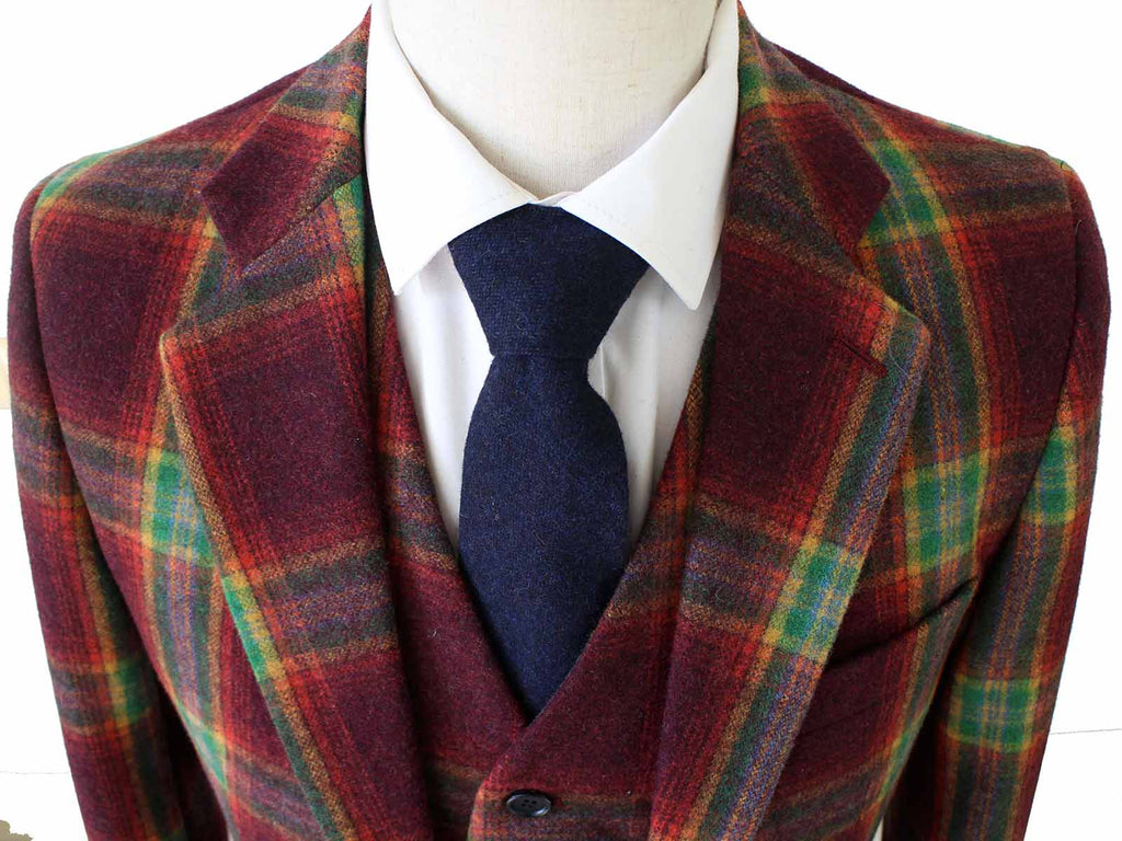 RAINBOW RED PLAID TWEED 2 PIECE SUIT - BDtailormade