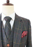 green overcheck plaid tweed wedding suits