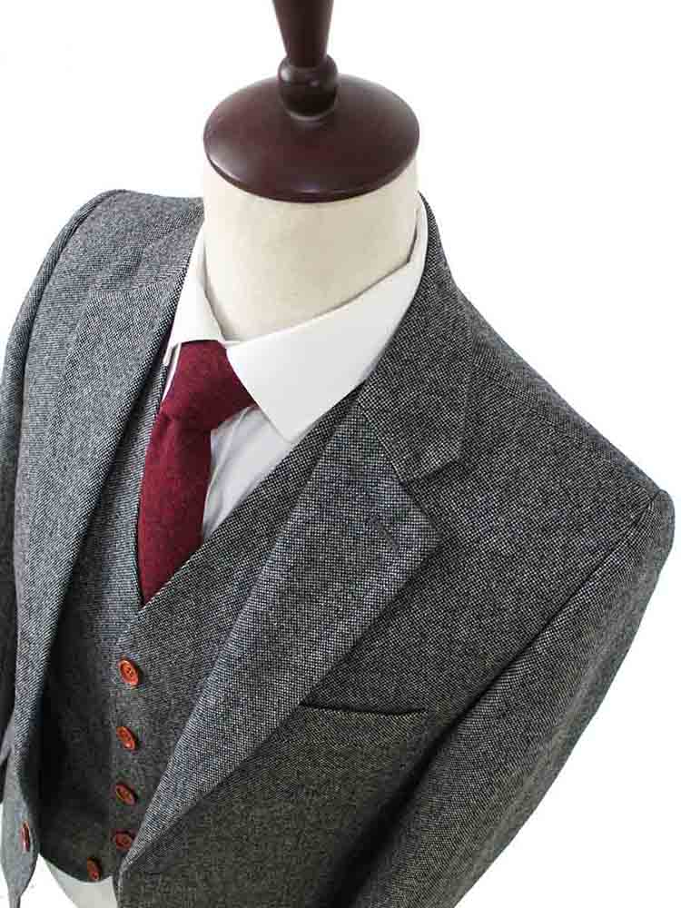 quality grey barleycorn tweed suit