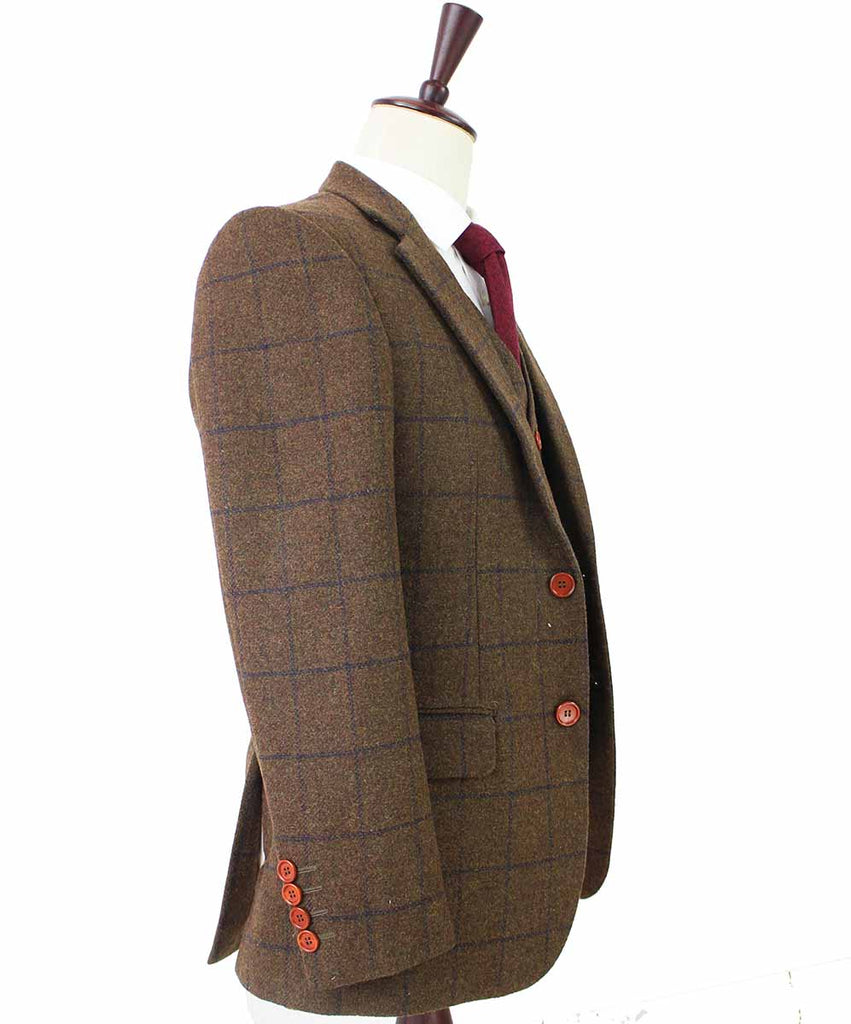 COUNTRY BROWN PLAID TWEED 2 PIECE SUIT - BDtailormade