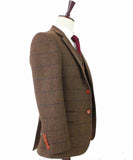 COUNTRY BROWN PLAID TWEED JACKET - BDtailormade