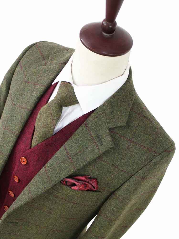 olive green plaid tweed jacet with red waistcoat