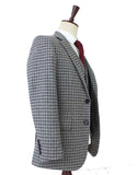 grey houndtooth tweed wedding suits