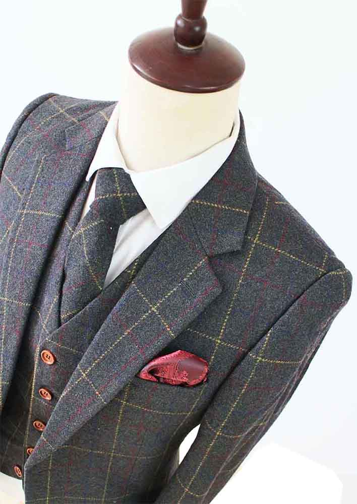green overcheck plaid tweed jacket