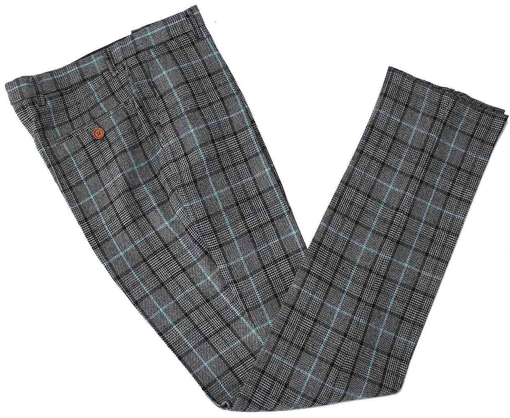 grey blue houndstooth plaid tweed trousers