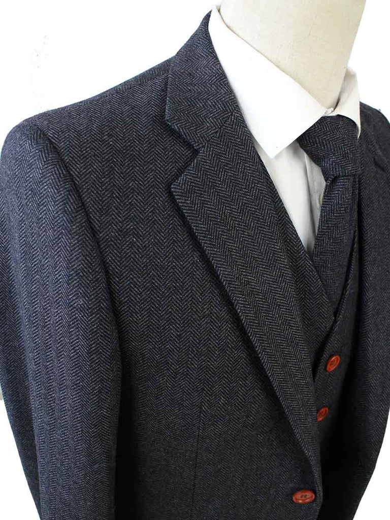 CHARCOAL HERRINGBONE TWEED 2 PIECE SUIT - BDtailormade