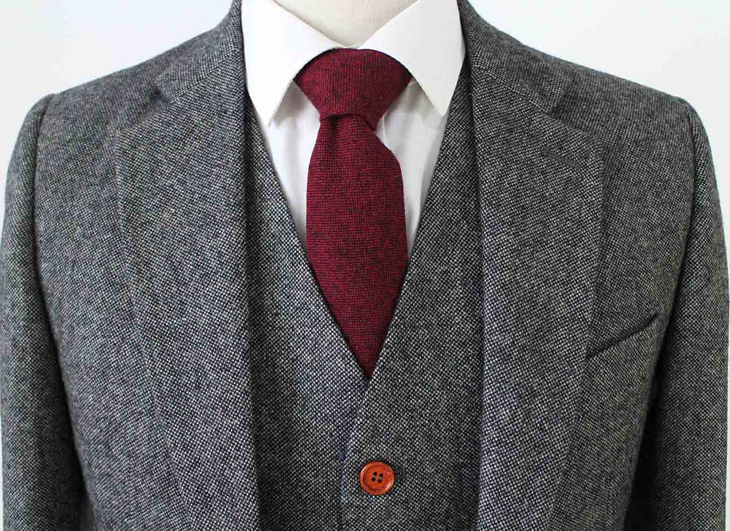classic grey barleycorn wedding tweed suit