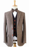 BROWN HERRINGBONE MIX & MATCH TWEED 3 PIECE SUIT - BDtailormade