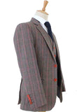 BROWN PINK HOUNDSTOOTH PLAID TWEED 3 PIECE SUIT - BDtailormade