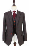 BROWN GREEN PLAID TWEED 3 PIECE SUIT - BDtailormade