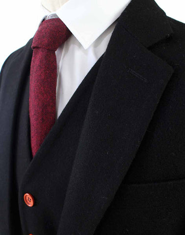BLACK TWILL TWEED 3 PIECE SUIT - BDtailormade