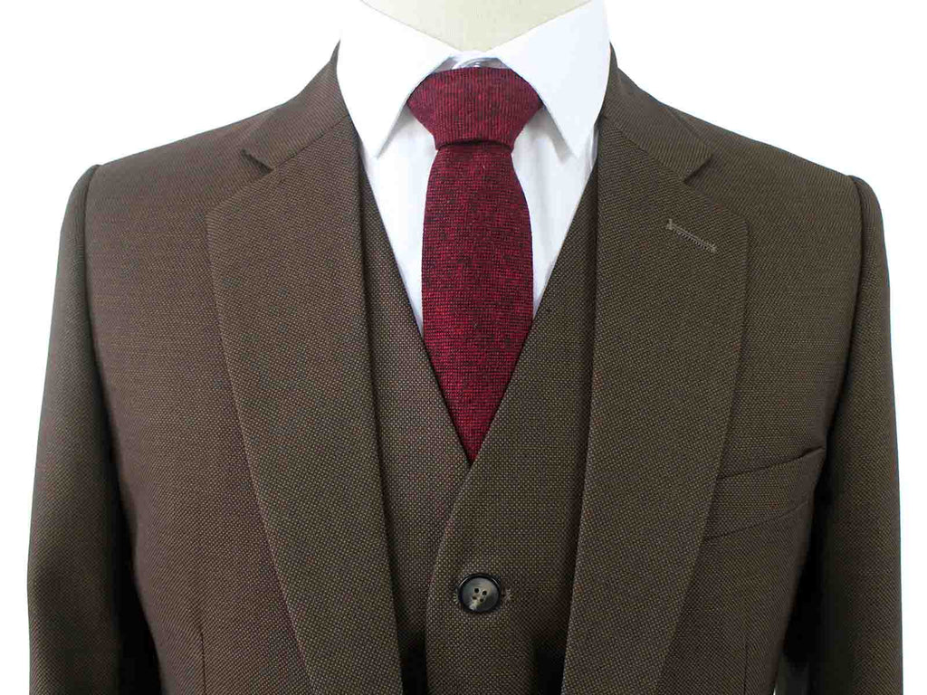 BROWN BIRDSEYE WORSTED 3 PIECE SUIT - BDtailormade