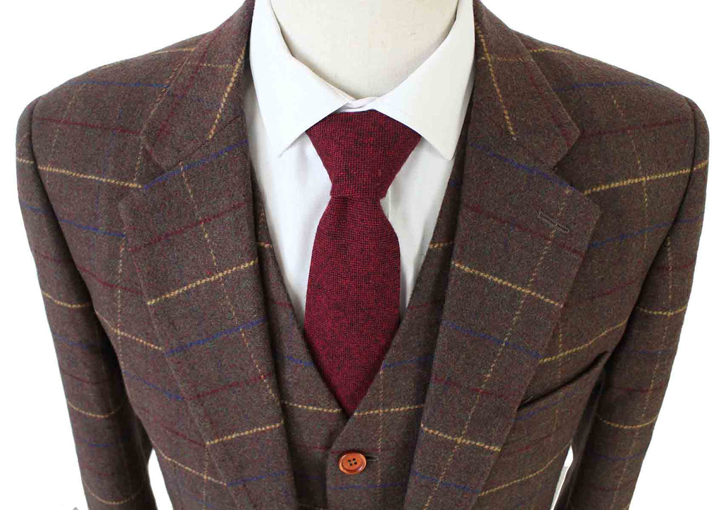 BROWN OVERCHECK PLAID TWEED 3 PIECE SUIT - BDtailormade