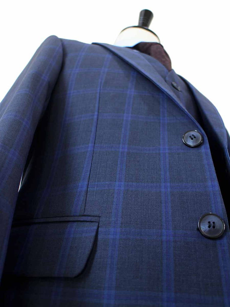 CHARCOAL WINDOWPANE WORSTED 3 PIECE SUIT - BDtailormade