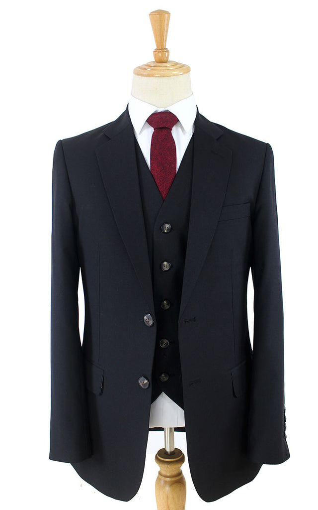 CLASSIC BLACK WORSTED 3 PIECE SUIT - BDtailormade