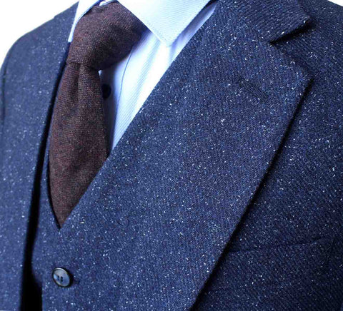CLASSIC NAVY SPECKLE TWEED 3 PIECE SUIT - BDtailormade