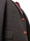 DARK BROWN HERRINGBONE TWEED 3 PIECE SUIT - BDtailormade