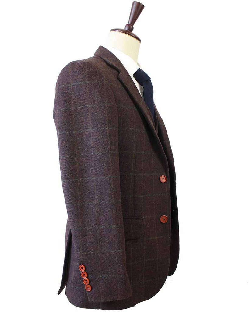 DARK BROWN PLAID TWEED 3 PIECE SUIT - BDtailormade