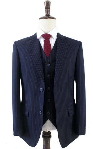 DARK BLUE PINSTRIPE WORSTED 3 PIECE SUIT - BDtailormade