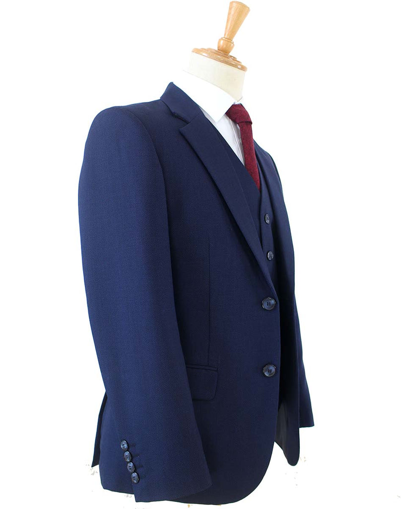 DARK BLUE BIRDSEYE WORSTED 3 PIECE SUIT - BDtailormade