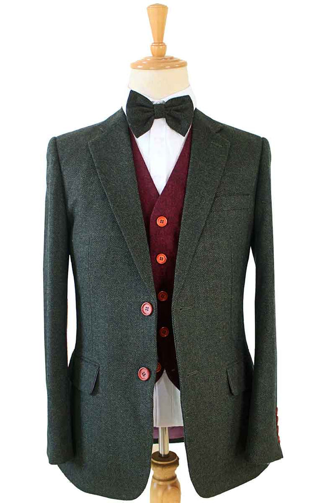 GREEN HERRINGBONE MIX & MATCH TWEED 3 PIECE SUIT - BDtailormade