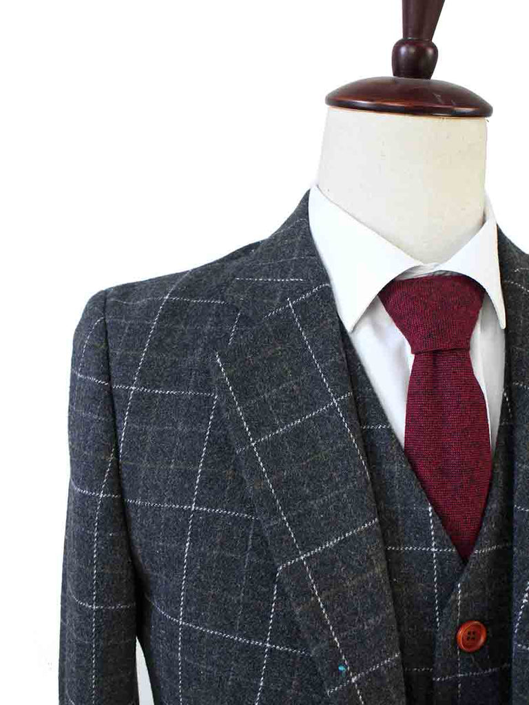 Gray Overcheck Plaid Tweed wedding Suits