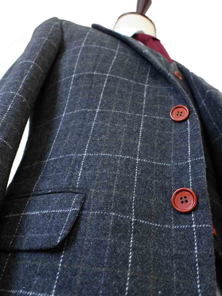 GREY OVERCHECK PLAID TWEED 3 PIECE SUIT - BDtailormade