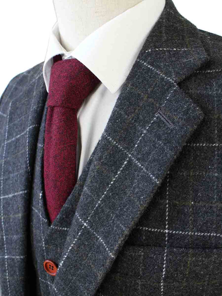 Gray Overcheck Plaid Tweed 2 piece Suits