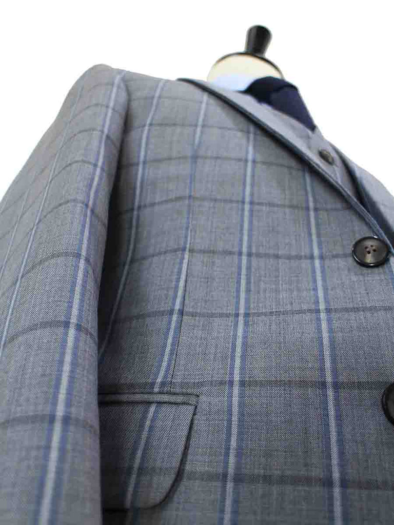 GREY WINDOWPANE WORSTED 3 PIECE SUIT - BDtailormade