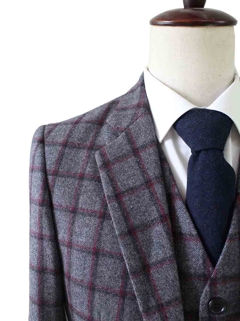 GREY RED WINDOWPANE PLAID TWEED 2 PIECE SUIT - BDtailormade