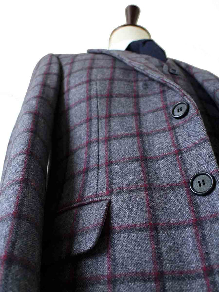 GREY RED WINDOWPANE PLAID TWEED 3 PIECE SUIT - BDtailormade