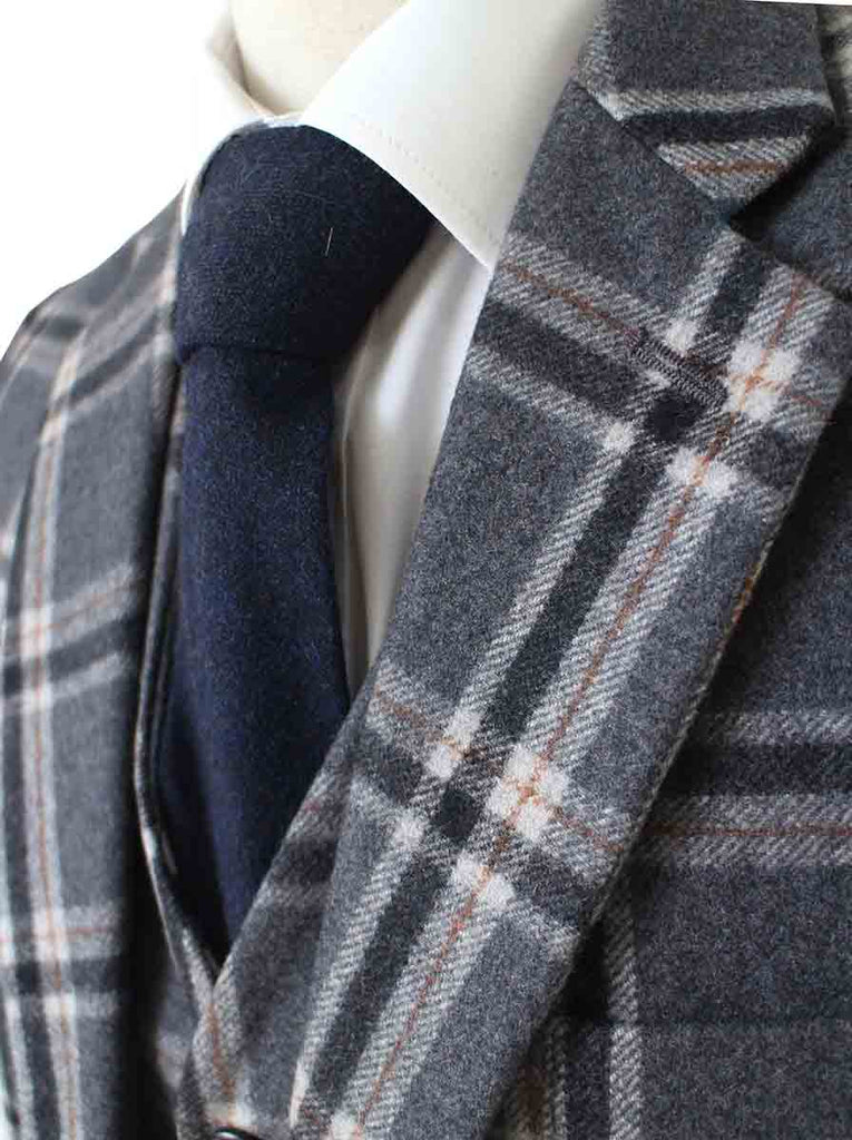 GREY WINDOWPANE PLAID TWEED 2 PIECE SUIT - BDtailormade