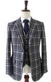 GREY WINDOWPANE PLAID TWEED 3 PIECE SUIT - BDtailormade
