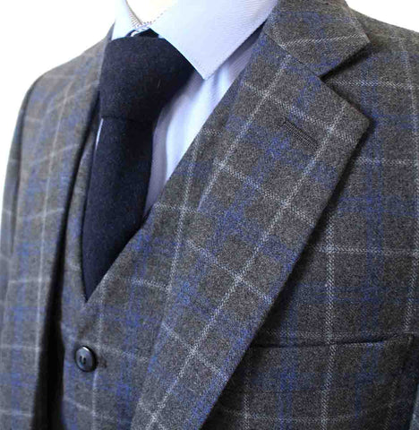 GREY OVERCHECK TWILL TWEED 3 PIECE SUIT - BDtailormade