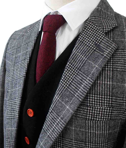 LIGHT GREY HOUNDSTOOTH PLAID TWEED 3 PIECE SUIT - BDtailormade