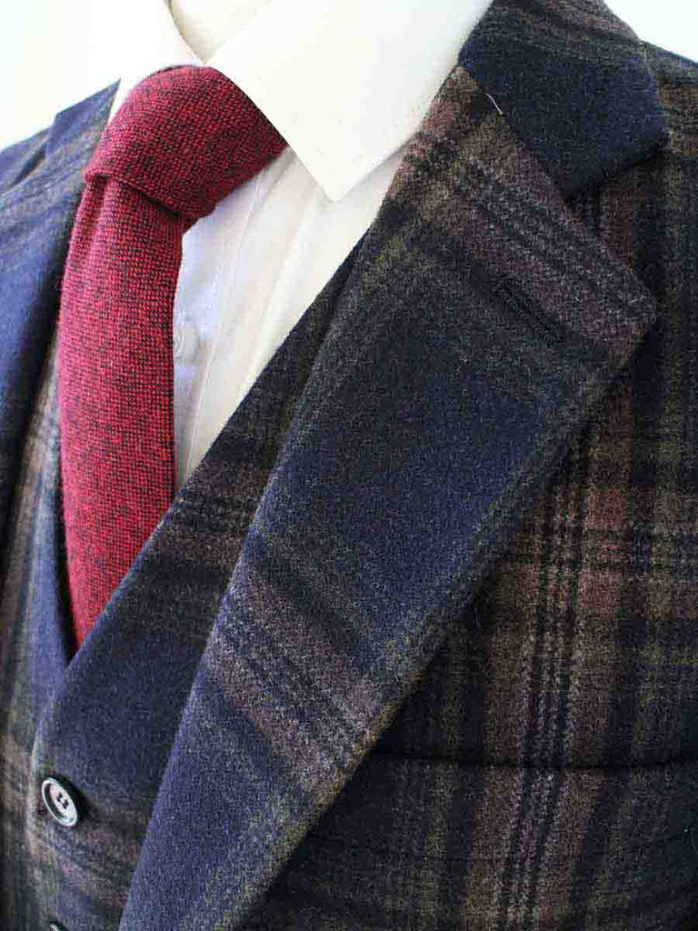 MIDNIGHT BLUE PLAID TWEED 2 PIECE SUIT - BDtailormade