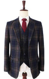 MIDNIGHT BLUE PLAID TWEED 3 PIECE SUIT - BDtailormade