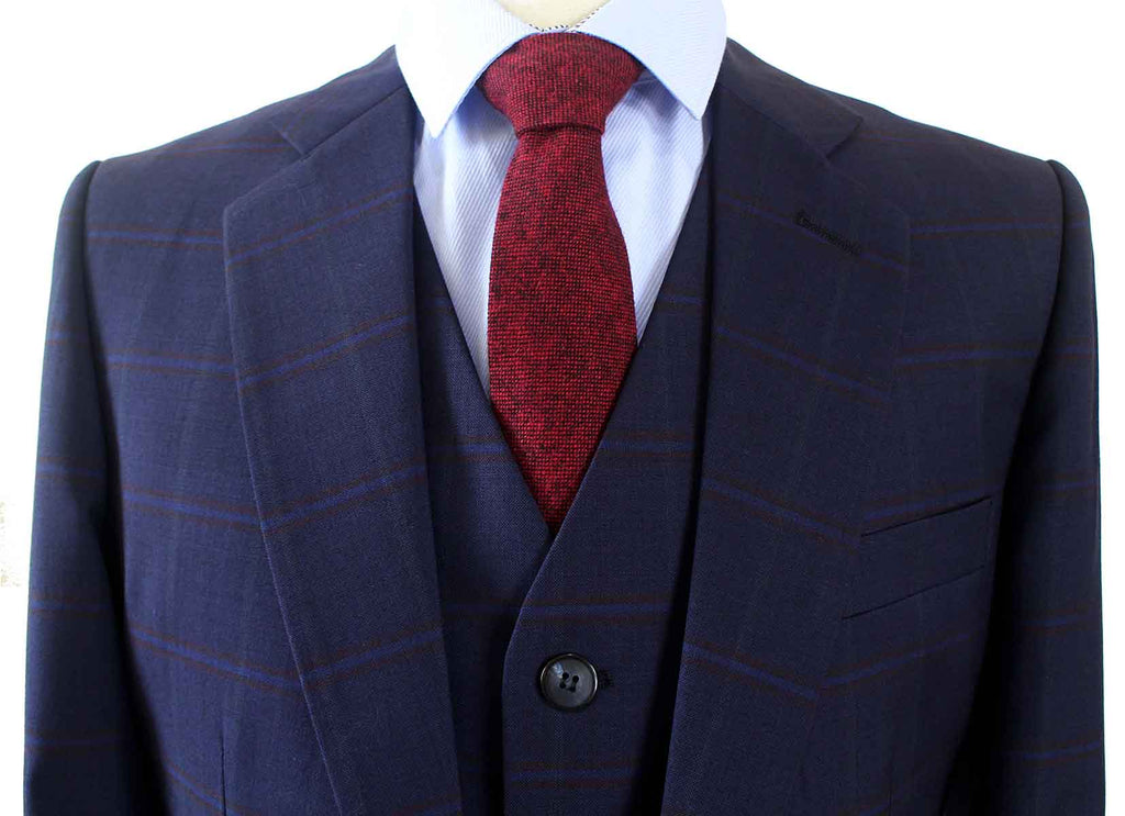 NAVY WINDOWPANE WORSTED 3 PIECE SUIT - BDtailormade
