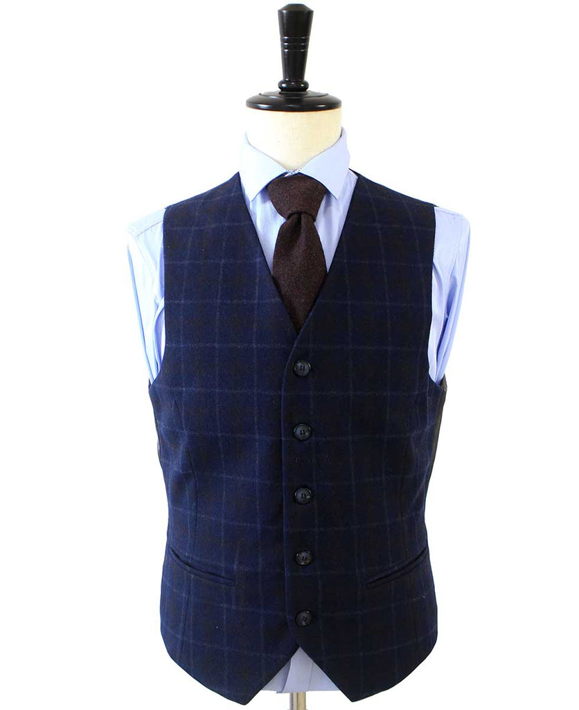 NAVY OVERCHECK TWILL TWEED 3 PIECE SUIT - BDtailormade