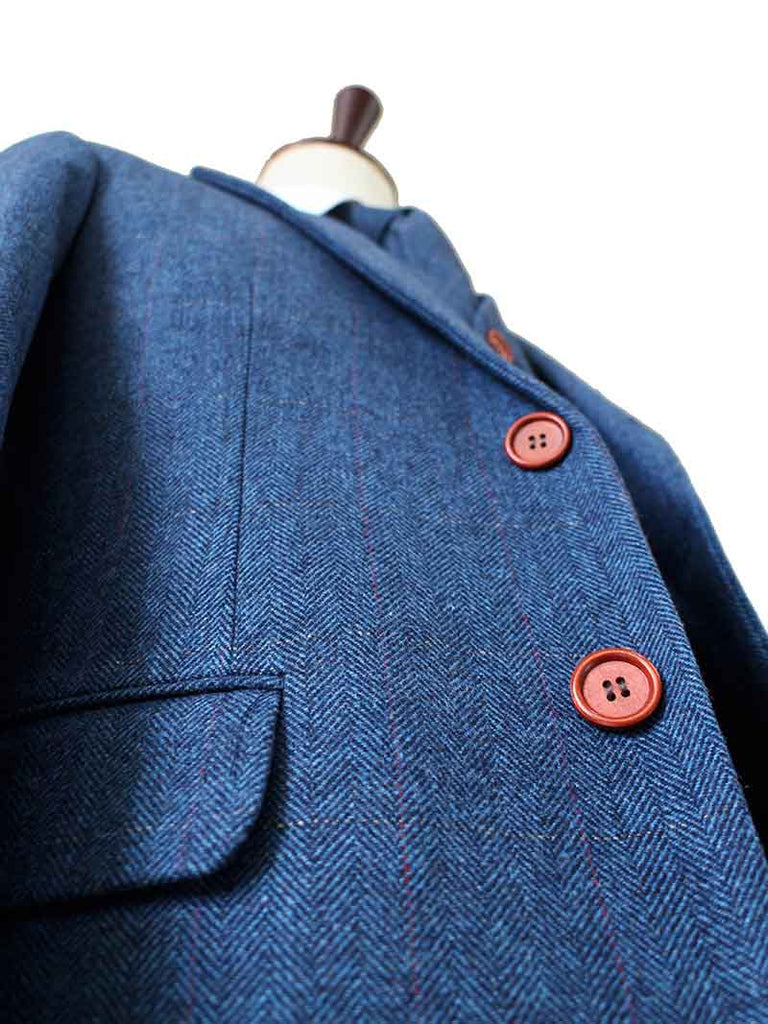 BLUE HERRINGBONE TWEED 3 PIECE SUIT - BDtailormade