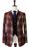 RAINBOW RED PLAID MIX & MATCH TWEED 3 PIECE SUIT - BDtailormade