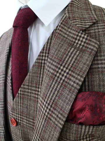 RETRO BROWN PLAID TWEED 3 PIECE SUIT - BDtailormade
